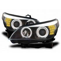 LED koplamp unit BMW E60/E61 Black F10 Look Angel Eyes